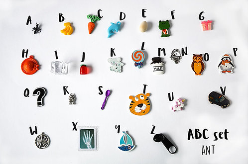 Ant ABC set, Alphabet I spy trinkets, by TomToy