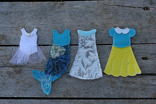 """Individual Dress up outfits for Felt """"paper"""" doll"""