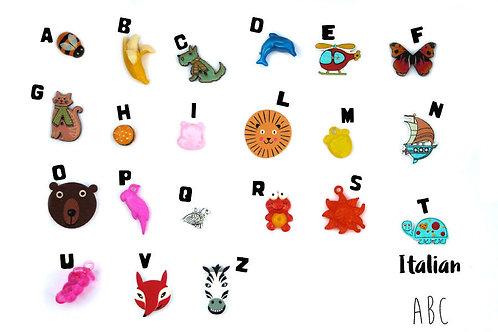 Multilingual ABC trinkets Italian alphabet TomToy