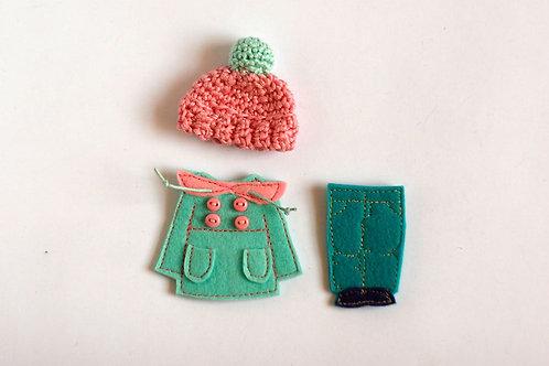 """Winter Dressing set for Felt """"paper"""" doll"""