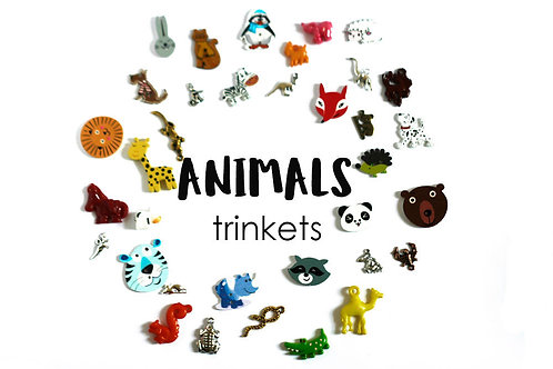ANIMALS Theme I Spy trinkets, 1-3cm, 35 trinkets