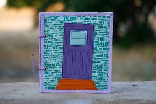 Fabric Dollhouse, Mint bricks Violet door,  4 rooms and covers