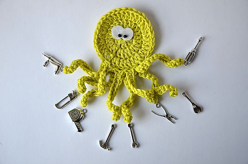 Handyman The busy Octopus crochet applique handmade by TomToy