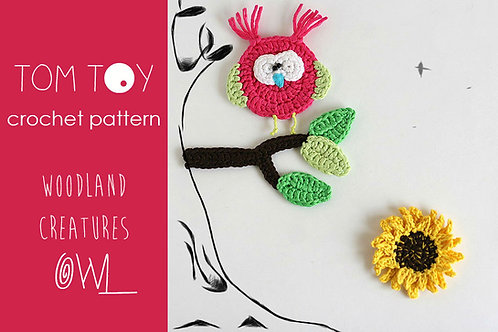 OWL  set Crochet PATTERN, Woodland Creatures collection
