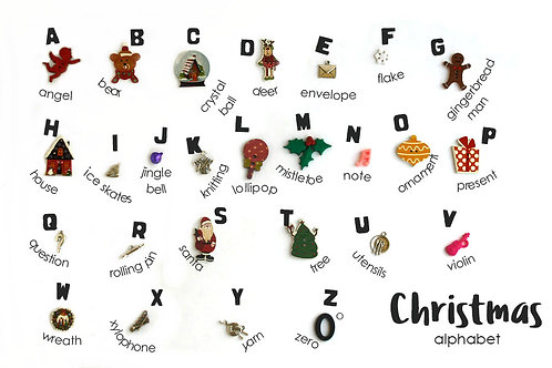 Christmas Holiday Theme ABC trinkets, 1-3cm, 26 objects Alphabet miniatures educational games or crafts, by TomToy