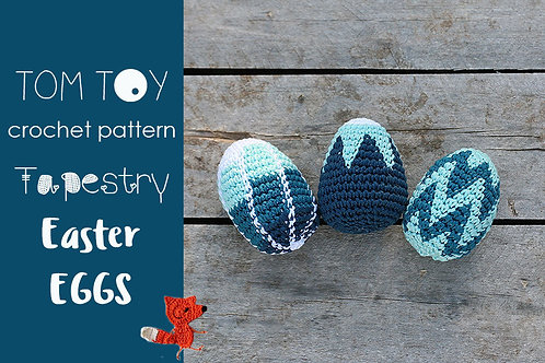 Tapestry Easter Eggs Crochet PATTERN by TomToy Three designs Ombre Stripes, Flow