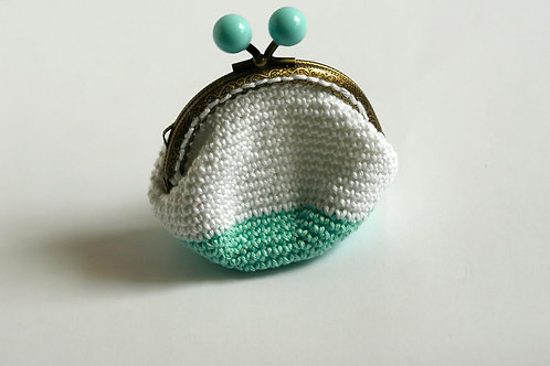 Crochet coin purse, Mint White Handmade by TomToy