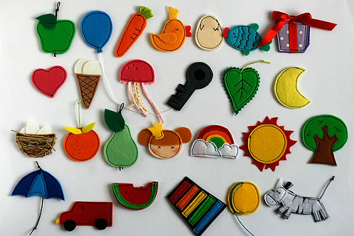 Felt Alphabet Objects, 4-5cm, 26 objects