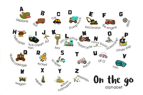 On the go Transport Cars Boy Theme ABC trinkets, 1-3cm, 26 objects Alphabet miniatures educational games or crafts, by TomToy