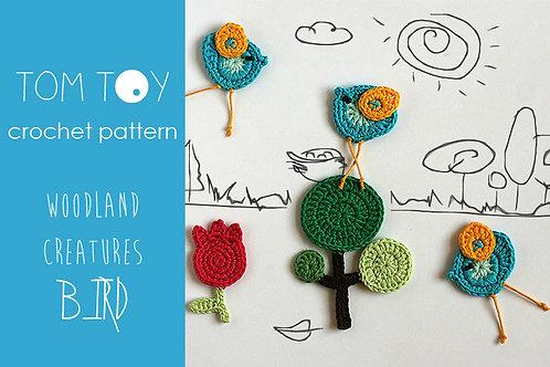 BIRD set Crochet PATTERN, Woodland Creatures collection