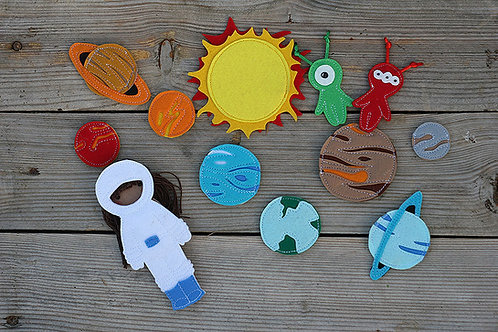 "Space set for Felt ""paper"" doll, handmade by TomToy"