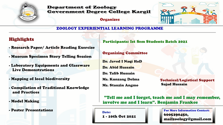 ZOOLOGY EXPERIENTIAL LEARNING PROGRAMME