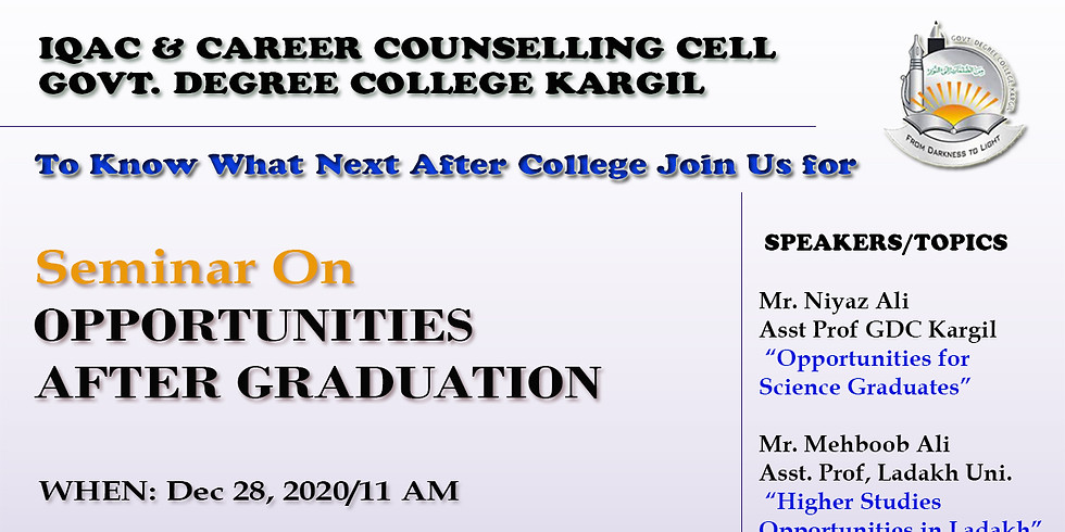 One Day Seminar on  OPPORTUNITIES AFTER GRADUATION