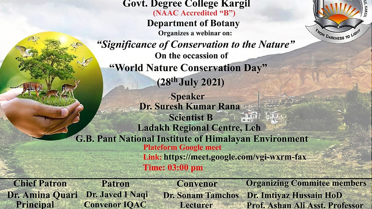 Signification of the conservation to the Nature
