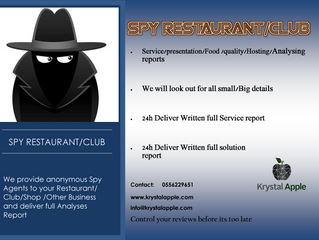 We offer Spy/Spotter Services for F&B venues/Clubs/Shops & all related service