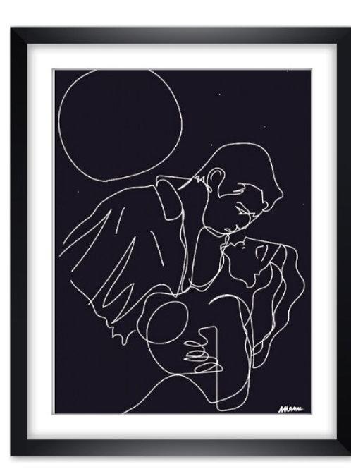 """Tirage d'Art  """"AMOUREUX SOUS LA LUNE"""" 30x40cm"""