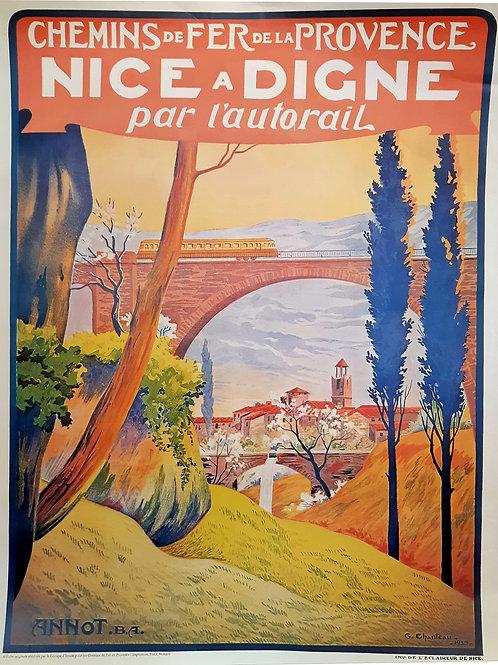 Affiche originale G.CHANTEAU - CHEMIN DE FER DE PROVENCE