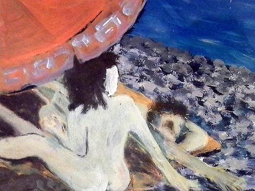 """PEINTURE """" Les amoureux à la plage"""""""