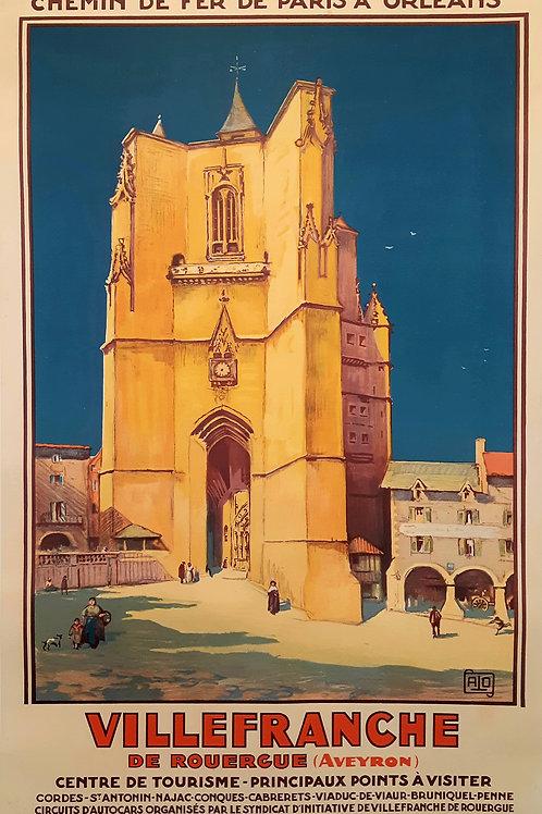 Affiche originale - JEAN CHARLES HALLO - Villefranche sur Rouergue - 1929