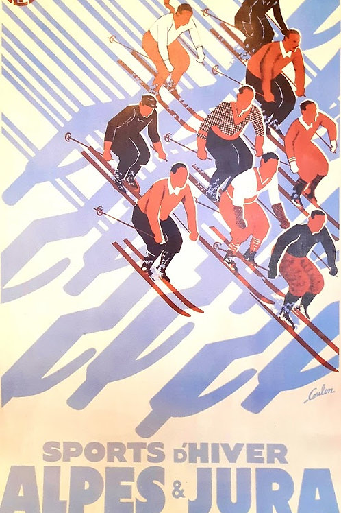 """Affiche ancienne Coulon """"sport d'hiver"""""""