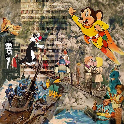 "Tirage d'art collage ""INFINEDELIRIUM"" 60x60cm"