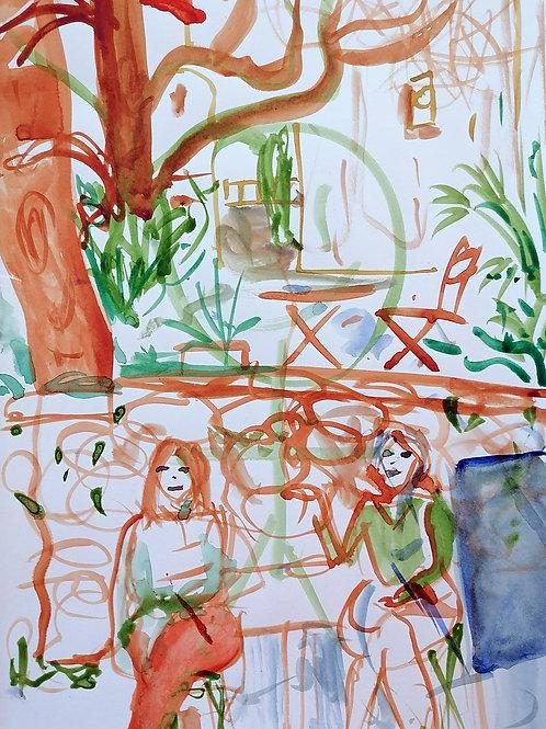 """Tirage d'Art """"Pause à l'Atelier Place des Arts"""""""