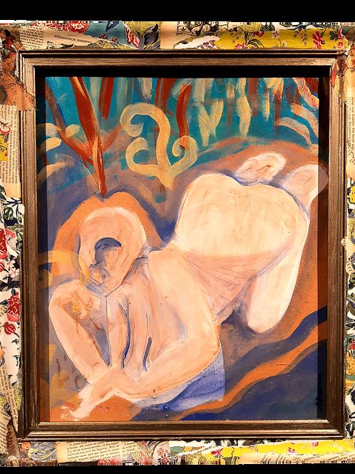 """OEUVRE ORIGINALE  ENCADREE """"NYMPHE A LA RIVIERE"""" 48x56cm"""