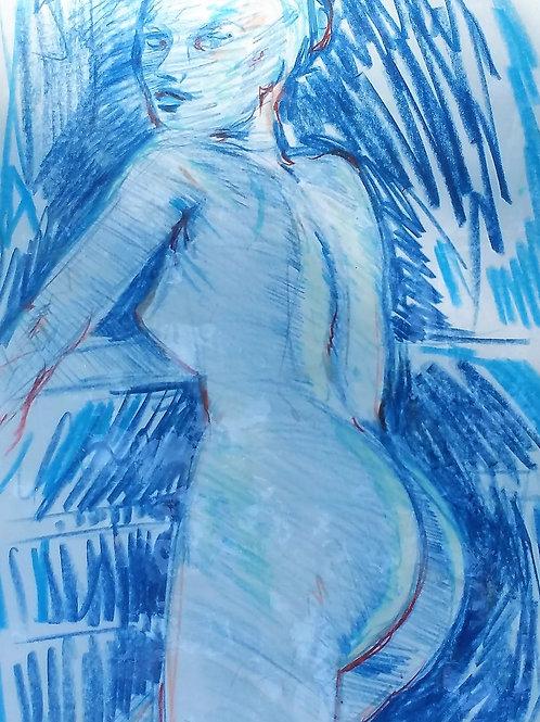 """Tirage d'art """"NUE BLEUE"""""""