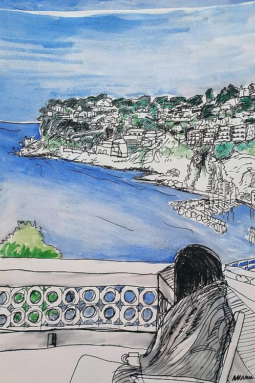 """Tirage d'Art """"Petit déjeuner sur la terrasse"""""""