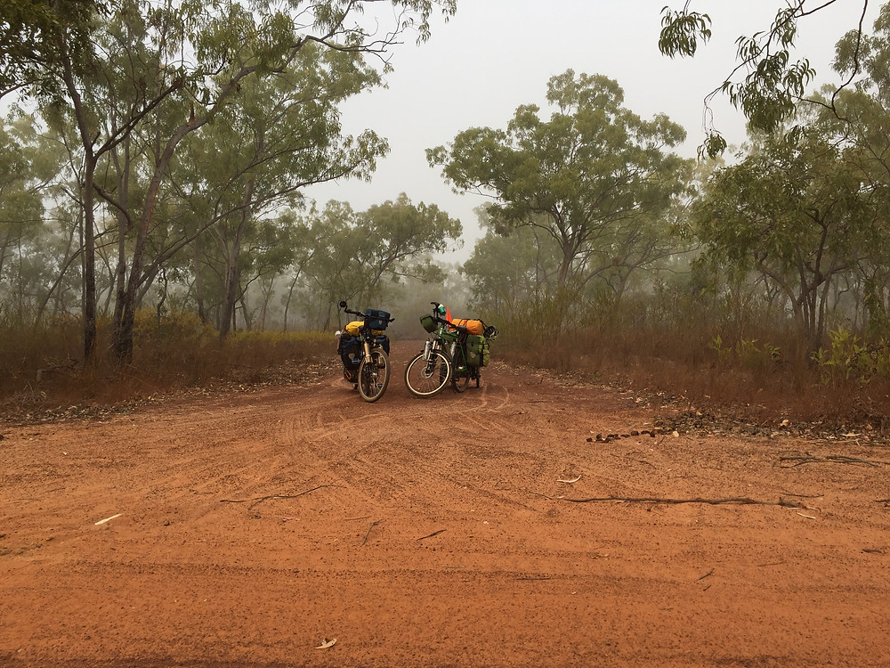Only 30kms of this road left and what a way to start, mist and cool wind