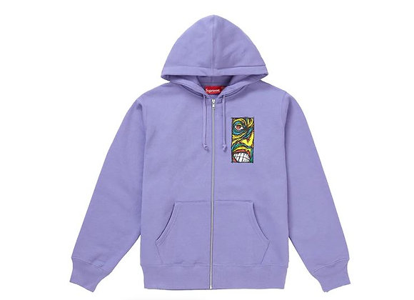 Supreme Disturbed Zip Up Hooded Sweatshirt Light Violet