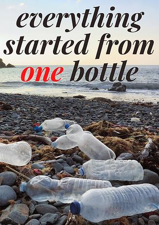 כרזה הממחישה את העקרון המרכזי של התיאוריה שעל פיו מספיר בקבוק אחד שנזרק על חוף הים כדי לסמל לסביבה שכל אחד יכול לזלזל ולזרוק את הלכלוך שלו