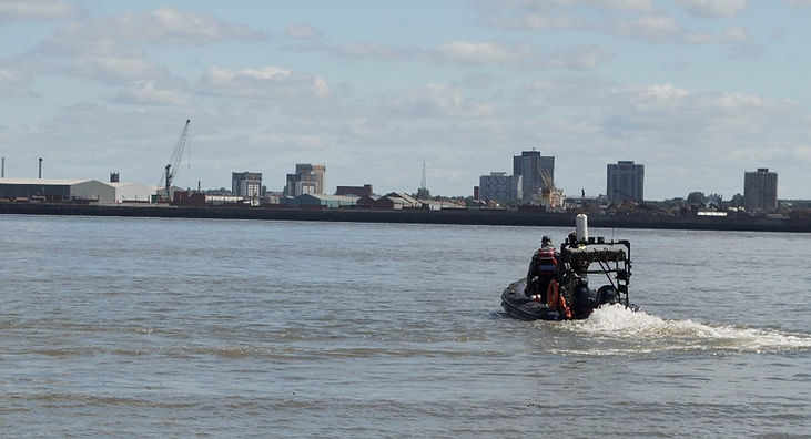 Safety boat on river mersey