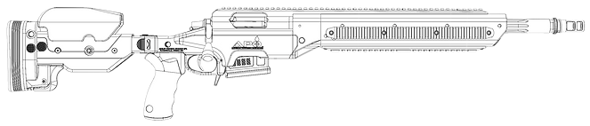 ASW-308 Wireframe of Base Rifle, Right -
