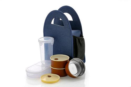 0128 Steel Lunch Box Set (4 pcs, Black)
