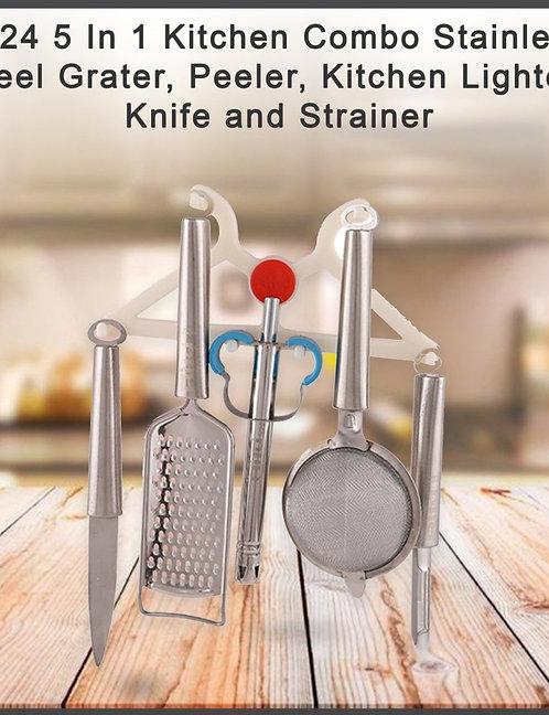 0724 Kitchen Combo - Grater, Peeler, Kitchen Lighter, Knife and Strainer