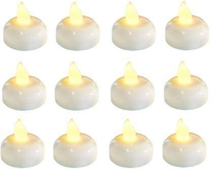 Waterproof Automatic LED Floating Yellow Colour 12 Piece /Box Candle Diya