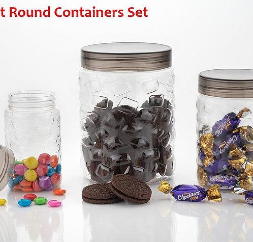 0598 3pcs Stone Jars Set (Big 1200ml, Medium 600ml & Small 250ml size)