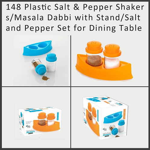 0148 Plastic Salt & Pepper /Masala Dabbi with Stand for Dining Table