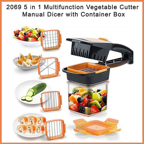 2069 5 in 1 Multifunction Vegetable Cutter Manual Dicer with Container Box