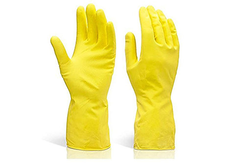 0662 - Flock line Reusable Rubber Hand Gloves (Yellow 2 tone) - 1pc