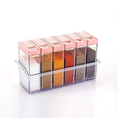 0122 Plastic Spice Jars (6 pcs, 14x22x8cm, Multicolour)