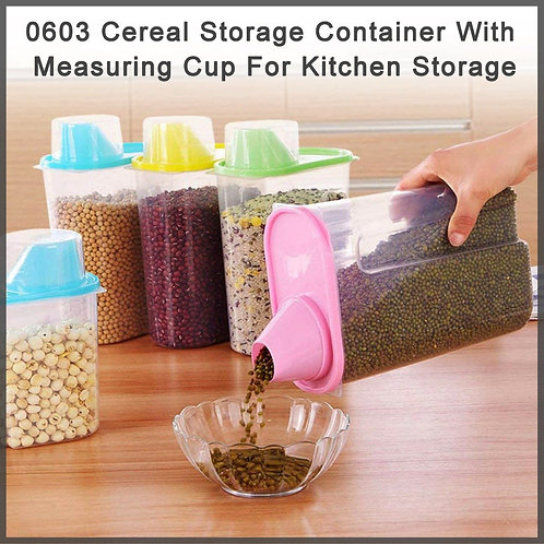 0603 Cereal Storage Container With Measuring Cup For Kitchen Storage (3 units)