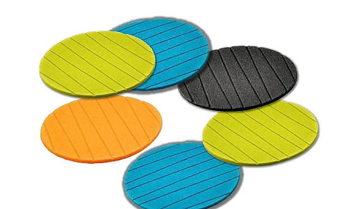 0129 6 pcs Useful Round Plain Silicone Cup Mat for Home