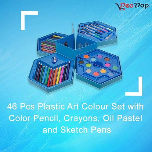 0859 46 Pcs Art Colour Set with Color Pencil, Crayons, Oil Pastel, Sketch Pens