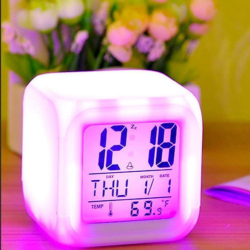 7 Colour Changing Clock, LCD Table Alarm Clock