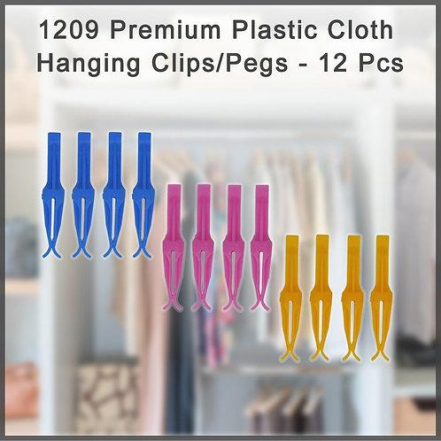1209 Premium Plastic Cloth Hanging Clips/Pegs - 12 Pcs