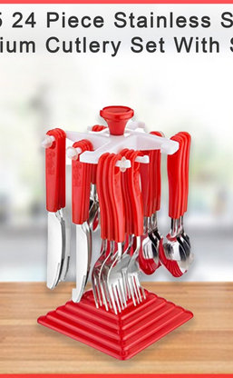 0175 24 Piece Stainless Steel Premium Cutlery Set With Stand