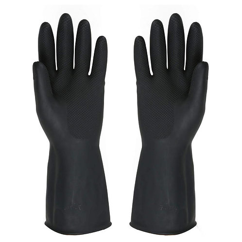 0673 - Heavy Reusable Rubber Hand Gloves (Black) - 1pc