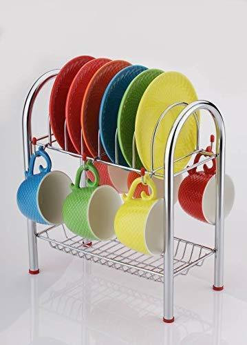 0746_Stainless Steel 2 Layer Plate & Bowl Stand Kitchen Utensil Rack